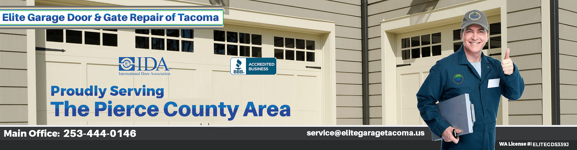 Elite® Garage Door & Gate Repair Of Tacoma WA & Pierce County - Main Banner